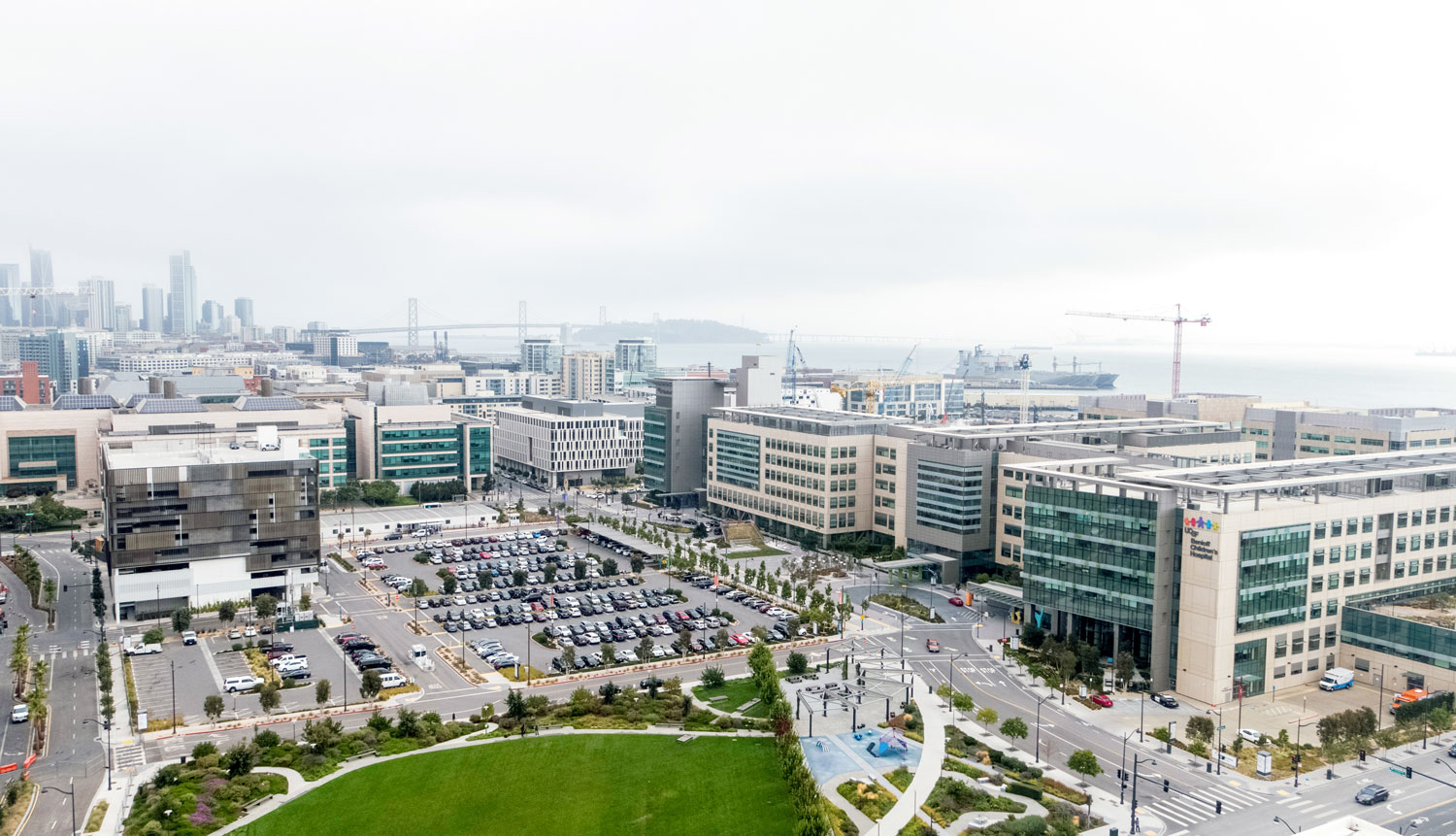 aerial of UCSF Medical Center at Mission Bay